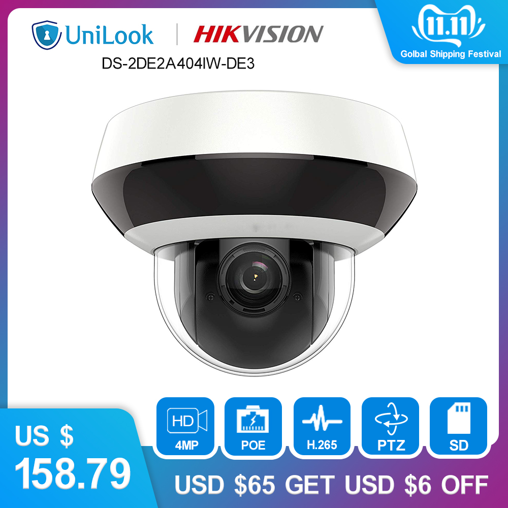 Hikvision 4MP 2.8 12mm 4x Dome PTZ IP Camera PoE Audio SD Card Slot Outdoor Weatherproof CCTV Surveillance DS 2DE2A404IW DE3-in Surveillance Cameras from Security & Protection