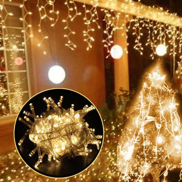 5M Waterproof Outdoor Christmas Light Droop Led Curtain Icicle String Lights