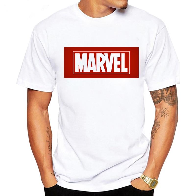 LUSLOS 2019 New Marvel Printed T Shirt Mens T-shirt Short Sleeve Male Boys Tops Tees Casual Tshirt Round Neck White Black Street