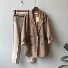 Женское пальто в клетку s blzaers повседневное свободное двубортное