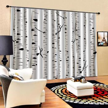 white forest curtains photo Blackout Window Drapes Luxury 3D Curtains For Living room Bed room Office Hotel Home