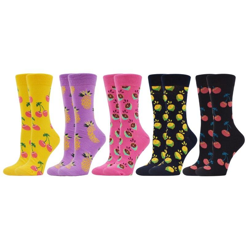 SANZETTI 5 Pair 2020 Spring Fruit Casual Women Socks Creative Happy Design Cherry Lemon Fashion Ladies Combed Cotton Gym Socks