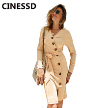 CINESSD Women Knitted Casual Dress Solid V Neck Long Sleeves Button Lace Up Pullover Office Ladies Autumn Winter Bodycon Dresses