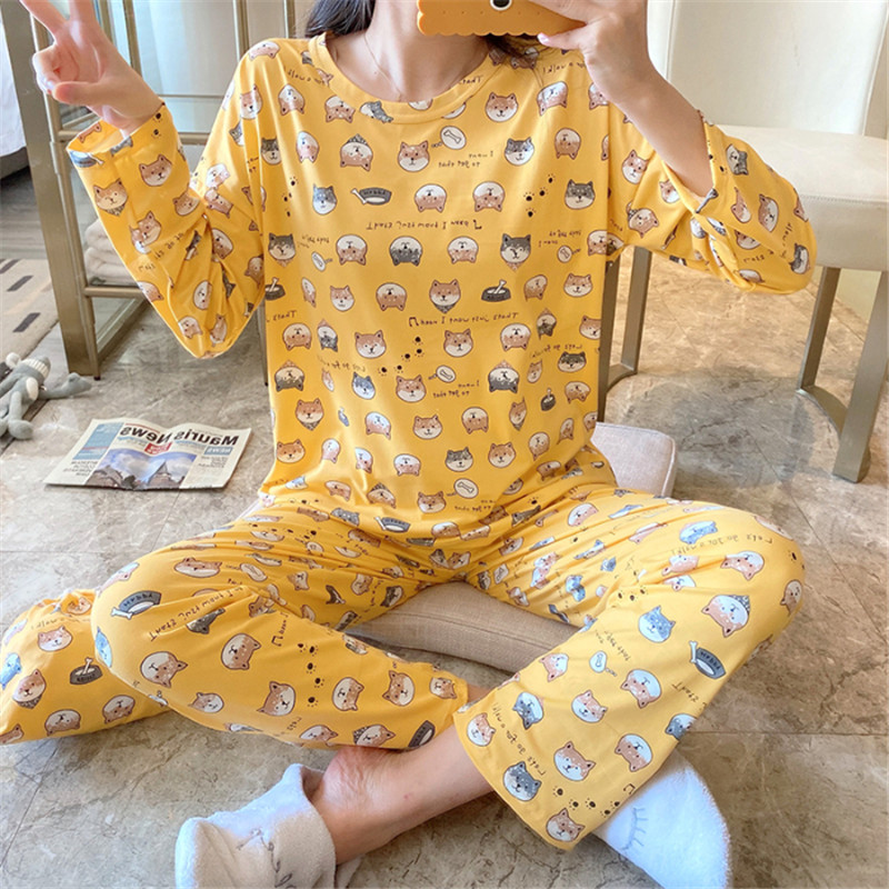 Women Pajamas Set Girl Sleepwear Cute Cartoon Shiba Inu Dog Women Pyjamas Suit Female Home Clothing 2019 Nightwear