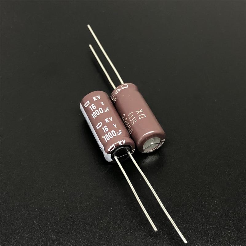 10pcs 1000uF 16V NIPPON NCC KY Series 8x20mm Low ESR 16V1000uF Aluminum Electrolytic Capacitor