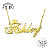 AILIN Custom Nameplate Necklace Personalized Name Crown Necklace Gold Color In 925 Sterling Silver Memorial Gift Women Necklace