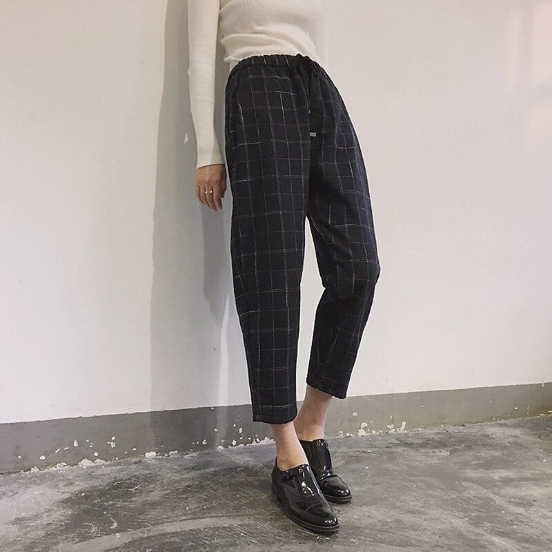 Summer Women Harajuku Plaid Harem Pants Casual Elastic Waist Slim Nine-point Plaid Harem Pants Fashion Korean Women Harem Pants