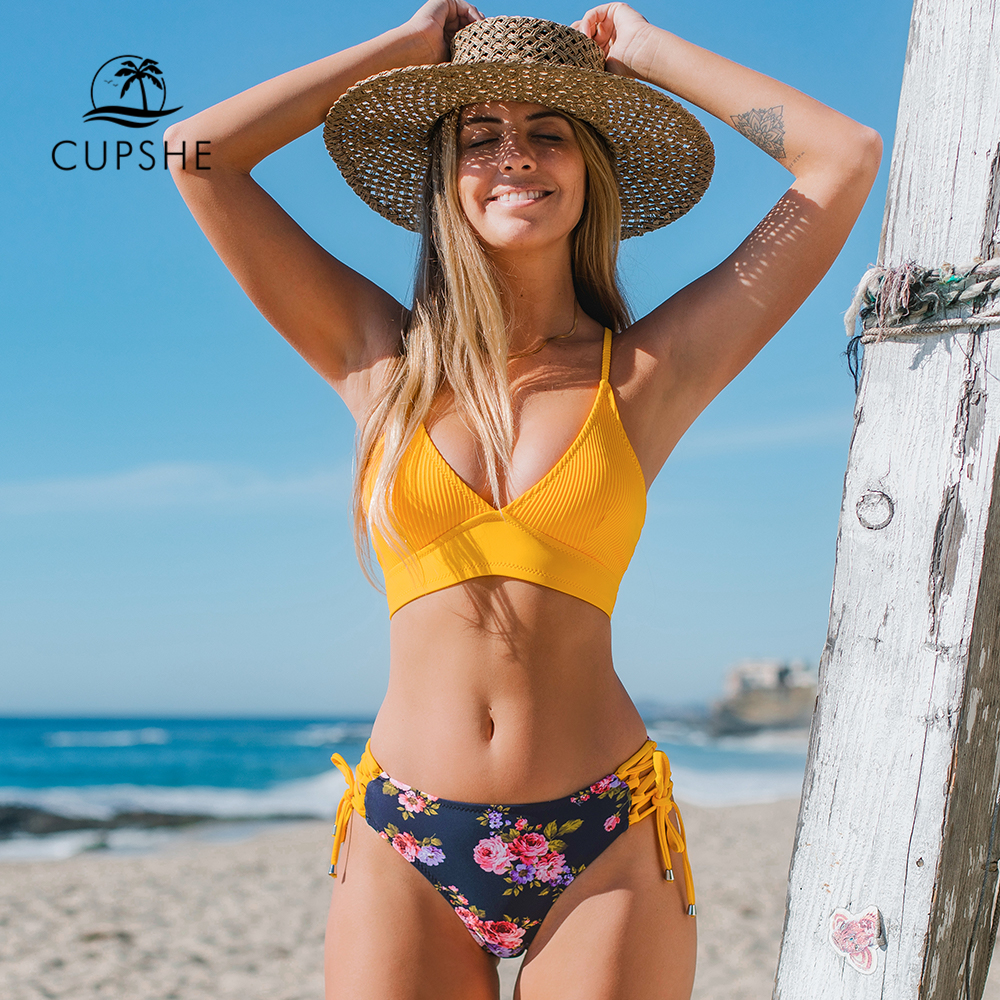 CUPSHE Sexy Yellow And Floral Lace Up Bikini Sets Women Boho V neck Two Pieces Swimsuits 2021 Girl Beach Bathing Suit Swimwear