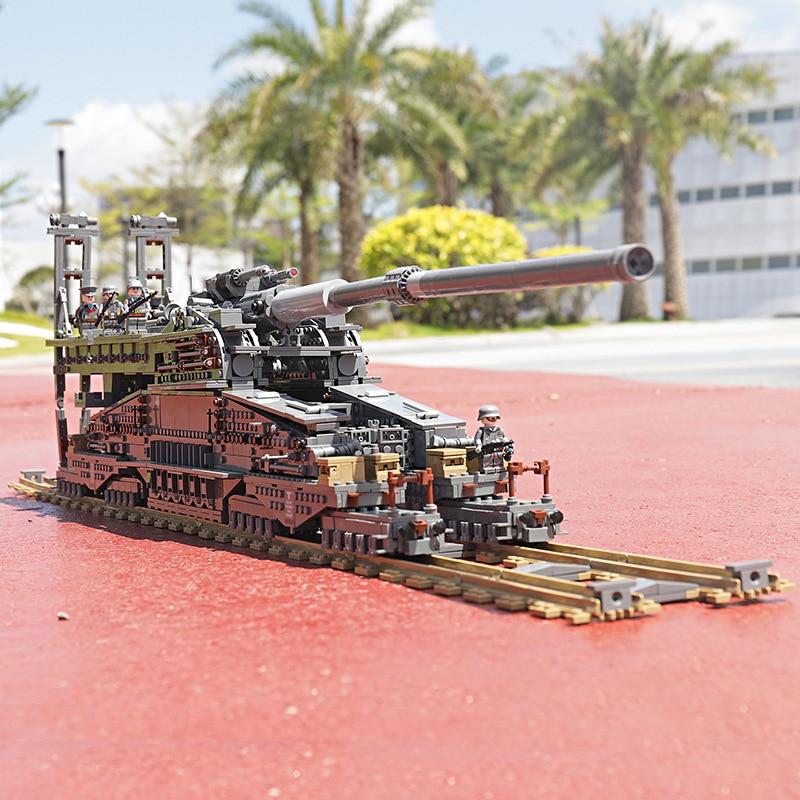 "3846Pcs KAZI Building Blocks 10005 German 80cm K[E] Railway Gun ""Dora"" Military Tanks Series Toys Bricks Compatible Legoingly 1"