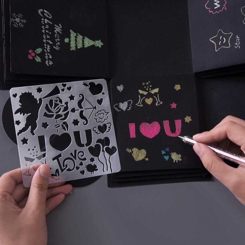 5 шт./компл. Детский DIY шаблон для рисования с вырезами ручная учётная запись DIY альбом тема кружевная линейка доска для рисования трафарет Ин...