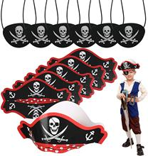 цена METABLE 6pcs Pirate Hats Costume Skull Print Pirate Hat with 6pcs Black Pirate Eye Patches for Kids Birthday Party Decoration онлайн в 2017 году