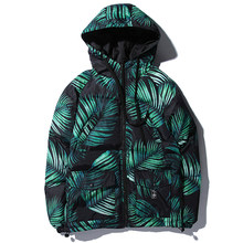2019 Hip Hop Warm Casual Parka Jackets Streetwear Outwear Winter Mens Plant Leaves Printed Thick Hooded Parkas(China)