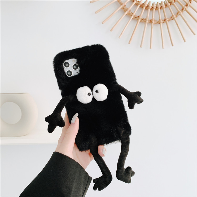 Cartoon Anime Finger Plush Furry Phone Case For iPhone 11 Pro Max XR X XS Max 7 8 Plus SE Soft TPU Shock Proof Back Cover