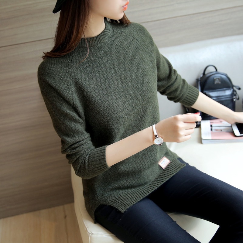 Femme Pull 2020 Knitted Sweater Women O-Neck Loose Casual Red Sweaters Spring Autumn Women Sweaters And Pullovers WXF566 S S