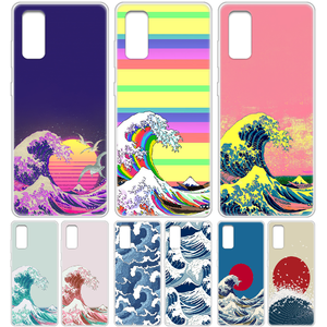 Wave Art japan aesthetics Phone Case cover hull For SamSung Galaxy S 6 7 8 9 10 20 Edge Plus E Lite 5G Ultra transparent