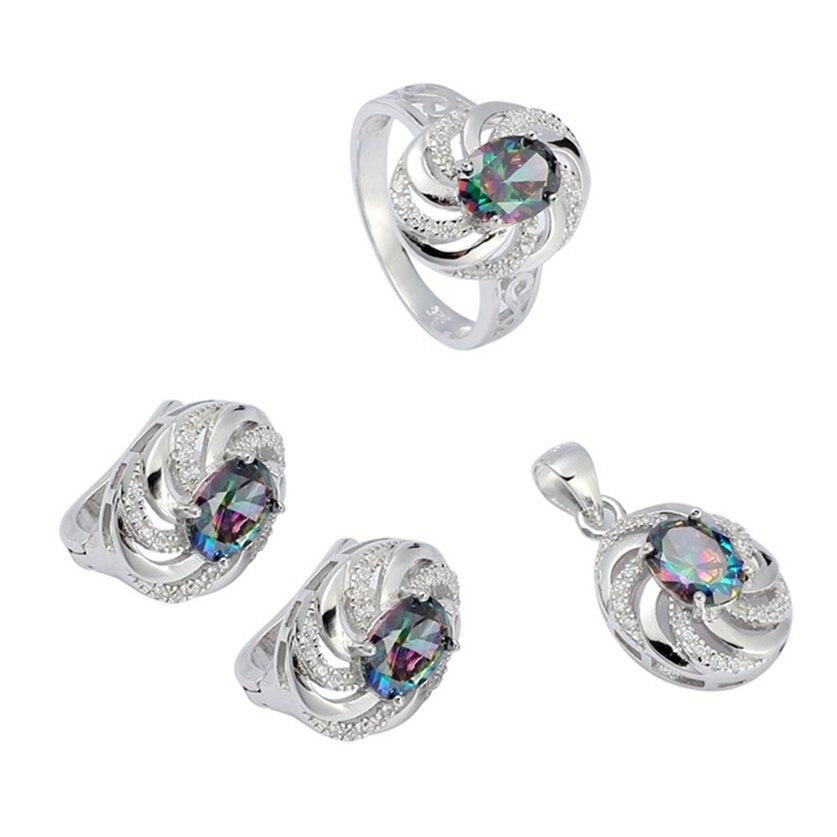 Eulonvan Charm 925 en argent sterling femmes fiançailles ensembles de bijoux de mariage (bague/boucle d'oreille/pendentif) arc-en-ciel zircon cubique S-3731set