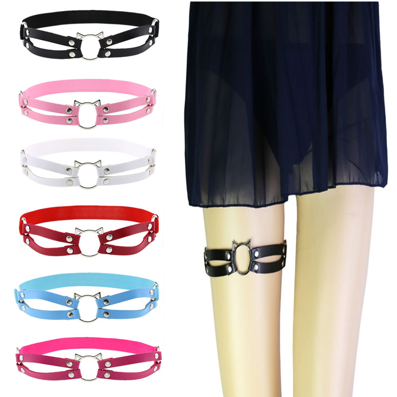 Women Sexy Faux Leather Elastic Leg Belt Cute Hollow Out Cat Wide Band Anti-Slip Double Row Thigh Ring Gothic Harajuku Cosplay