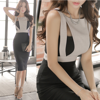 CINESSD one piece Bodycon Dress for women Summer Korea Sleeveless Strapless Polyester Ladies Office formal Knee midi Dresses
