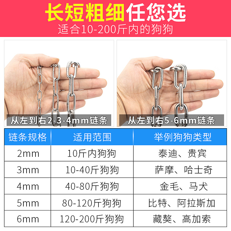 304 Stainless Steel Dog Chain Large Dog Giant Iron Chain Rough Small Dogs Dog Chain Medium-sized Dog Suppository Dog