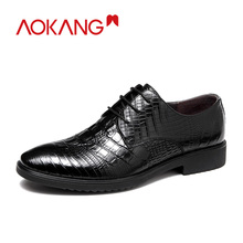 AOKANG Business Shoes Men Oxford Leather Shoes Men Formal Dress Shoes Male Crocodile British Derby Shoes Man High Quality 2018 new broch leather shoes hit color derby carved tassel metal british tie men s shoes