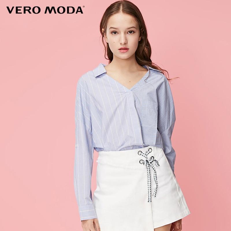 Vero Moda 100% Cotton V-neckline Striped Drop-shoulder Sleeves Shirt| 319151515