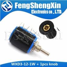 1pcs WXD3-12-1W 100 220 470 1K 2K2 3K3 4K7 10K 22K 33K 47K Ohm 100R 220R 470R 2.2K 3.3K 4.7K WXD3-12 1W Potentiometer+ 1pcs knob