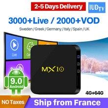 4G 64G MX10 RK3328 Android 9.0 TV Box H.265 4K Media Player 1 Year IUDTV Subscription IPTV Europe Sweden Italy Spain IPTV Box цена в Москве и Питере