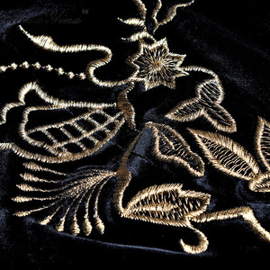 Image 5 - MoaaYina Fashion Autumn Women dress Long sleeve Luxurious Gold Line Embroidery Black Vintage Split Package buttocks Velvet Dress