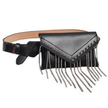 Tassel Diamonds Women Fanny Pack Fashion Rivet Streetwear Bag Glitter Purse Pu Leather Belt Waist Bag Mobile Black(China)