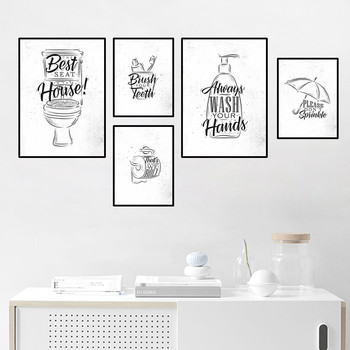 Toilet Quote Picture Bathroom Wall Decor Canvas Painting Brush Canvas Art Poster Fashion Black White Washroom Prints Leather Bag