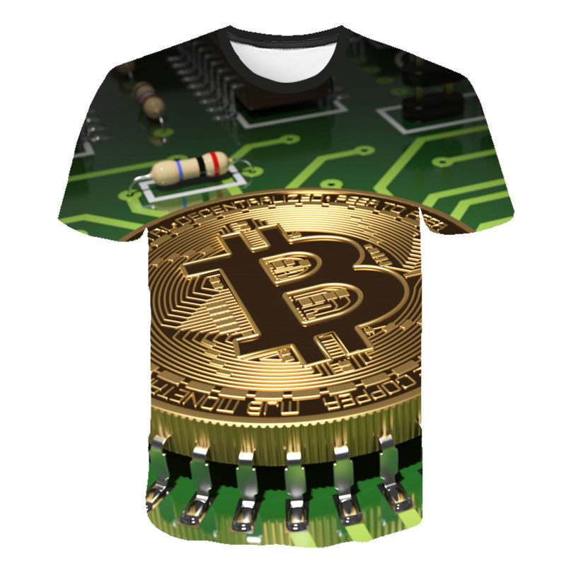 2021 latest summer men's 3d T-shirt Bitcoin printing casual streetwear loose short sleeves blockchain revolution cryptocurrency 3