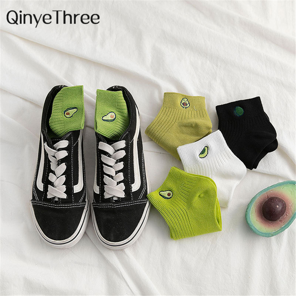 Women Solid Avocado Embroidery Socks Casual Joker Cotton Short Socks For Ladies Concise College Style Breathable Sox Trendy