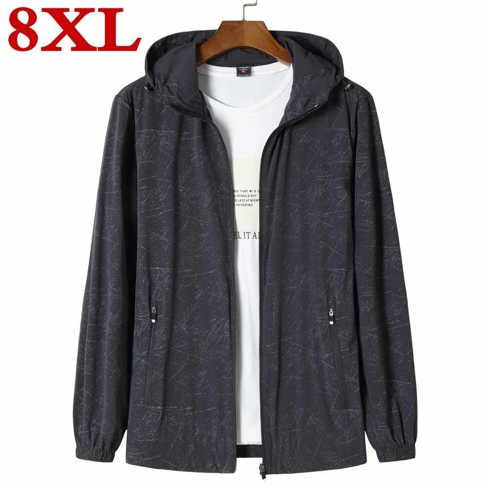 plus size 8XL Sun protection clothing  Mens Casual Jackets Windproof Ultra-light Jacket Men Army Windbreaker Quick Dry Skin Coat
