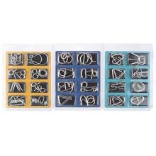 Rompecabezas de Metal IQ Mind para niños, rompecabezas de Metal de 8 piezas/juego, rompecabezas