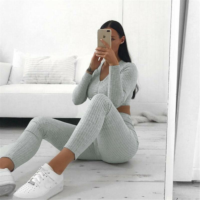 Women Knit Crop Top Pants Trousers Set Lounge Wear Suit Ladies Outfits Stretch Long Sleeve V Neck 2pcs Tracksuit Set Casual