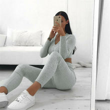 Women Knit Crop Top Pants Trousers Set Lounge Wear Suit Ladi