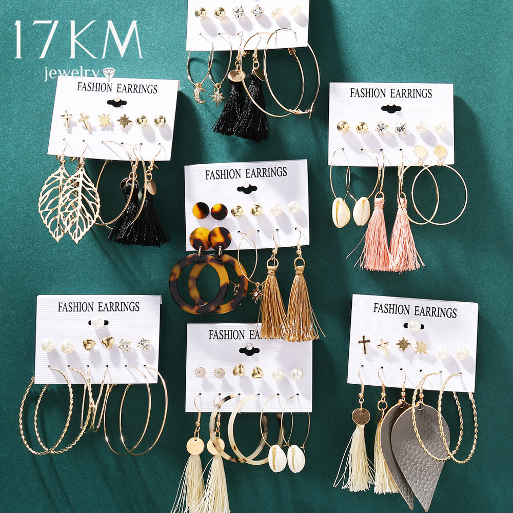 17KM Vintage Moon Pearl Stud Earrings Set For Women BOHO Tassel Geometric Heart Twist Earring 2019 New DIY Bohemian Jewelry