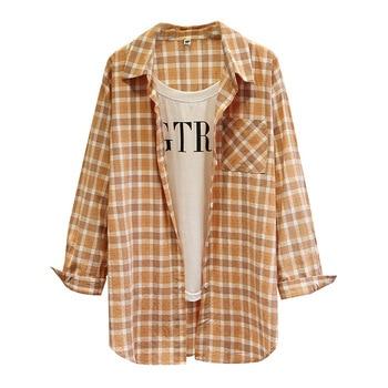 Camisas de primavera para mujer, Tops de manga larga para mujer, Blusa de algodón lavado a cuadros, blusa de talla grande informal a la moda, D5-8066 de dos piezas falsas