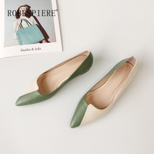 ROBESPIERE Pointed Toe Women Flats Quality Genuine Leather Mixed Colors Shoes Woman Casual Slip On Low Heels Ladies A65