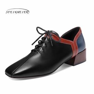 Image 1 - المرأة الشقق أحذية من الجلد الحقيقي أحذية رياضية امرأة البروغ خمر حذاء كاجوال مسطح الأربطة أكسفورد أحذية للنساء ربيع 2020