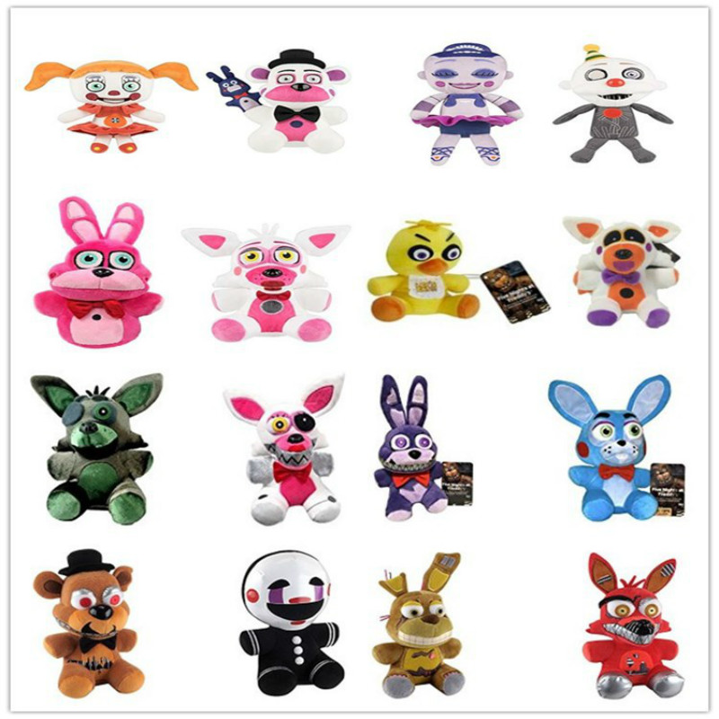 18cm FNAF Freddy Fazbear Plush Toys Five Nights At Freddy's Golden Bear Nightmare Cupcake Foxy Balloon Child Clown Stuffed Dolls