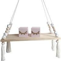 Wisząca półka ścienna z drewna  w stylu księżniczki Tassel koraliki ozdoba stojak wystawowy dla kobiet dziewczynki dekoracja do pokoju dziecięcego w Półki i stojaki od Dom i ogród na