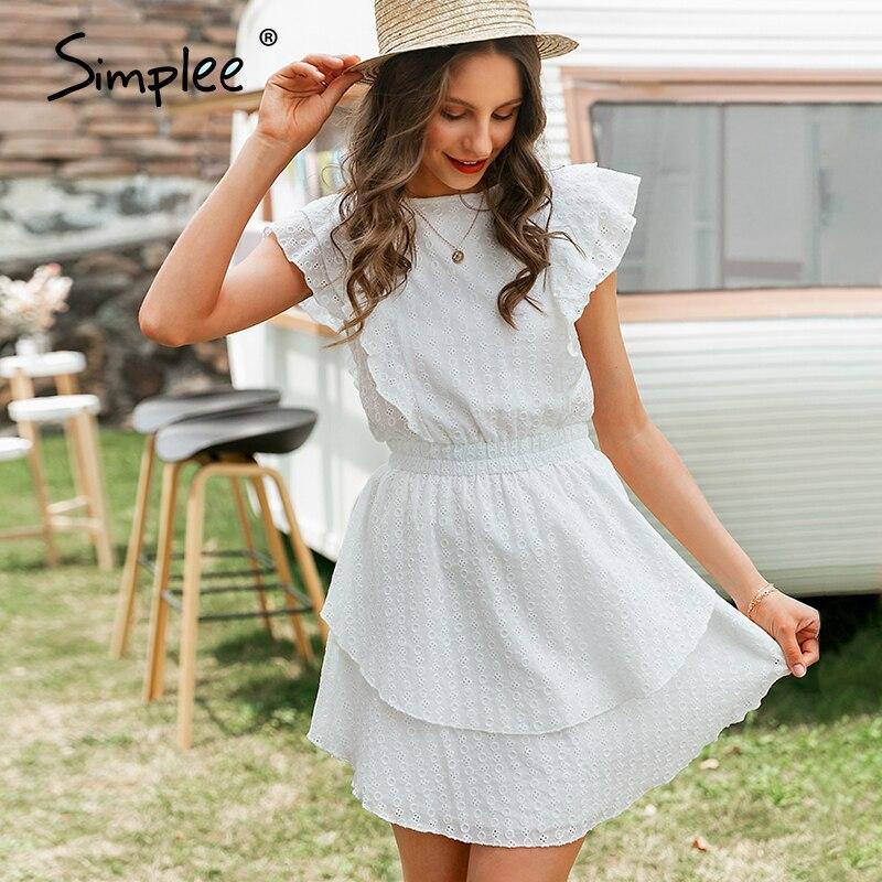 Simplee Elegant Crew Neck Ruffle Boho Dress Women High Waist Sleeveless Sexy Lace Dress Female  Casual White  Ladies Mini Dress