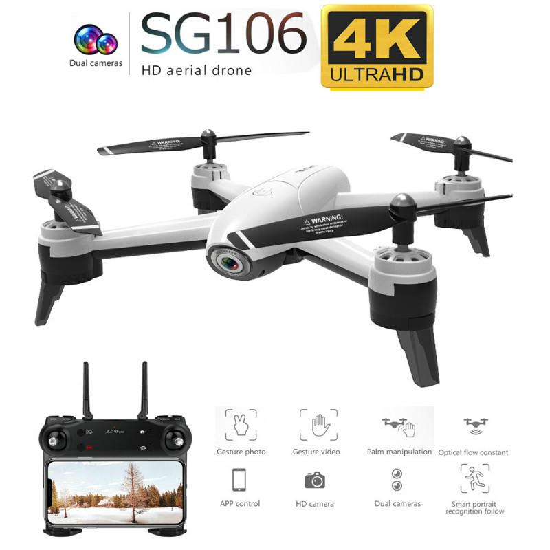 Sg106 Drone Wifi Fpv Rc Drone 4k Camera Optical Flow 1080p Hd Dual Camera Aerial Video Rc Quadcopter Airplane Quadrocopter Toy image