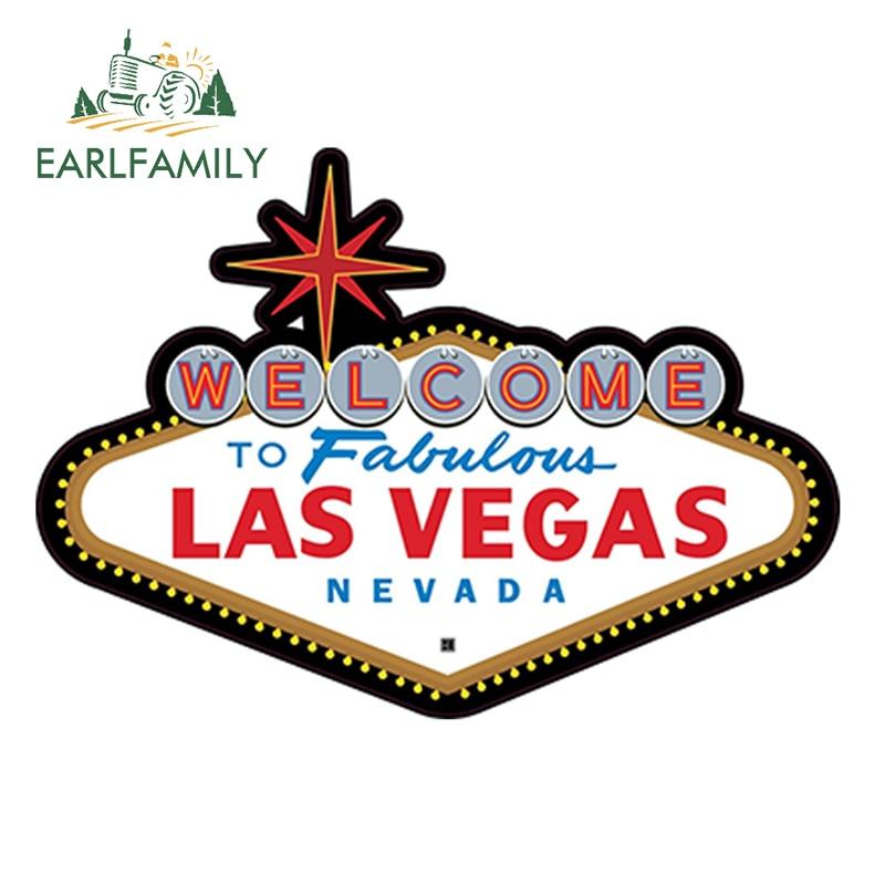 EARLFAMILY, 13 см x 9,2 см, сказочный знак Лас-Вегаса, высекающая наклейка, 4 дюйма, широкая наклейка, забавная Автомобильная наклейка, наклейки для ав...