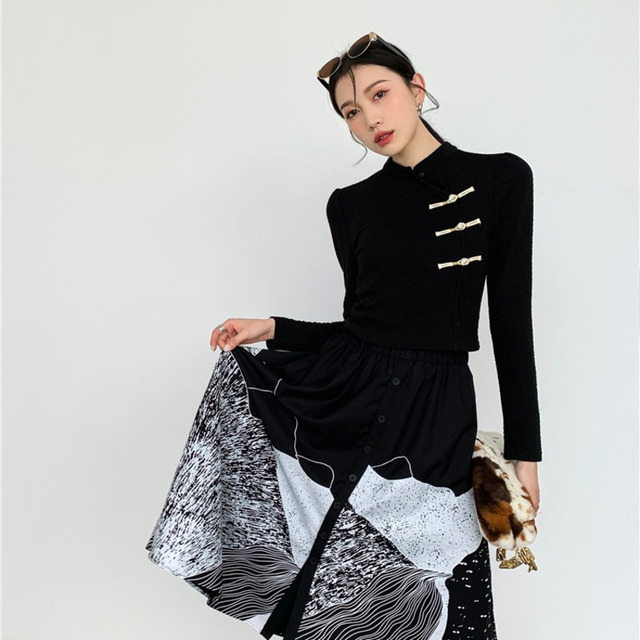 DEAT Woman Suit Black Buckle Stand Collar Long Sleeve Fit Tops + Print Elastic Waist Skirt Vintage Style 2021 New Autumn 15XF734 6