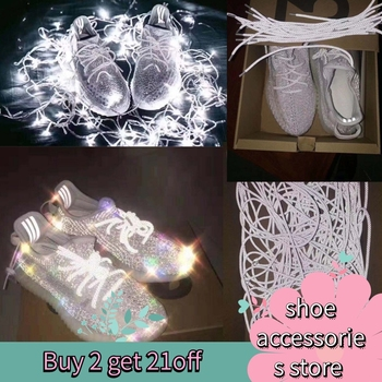 off white Fluorescent Sneaker Shoestrings Sport Shoelaces Reflective Round Rope Shoes Lace Light Shoelace Shoe Accessories darseel shoe accessories shoelaces as