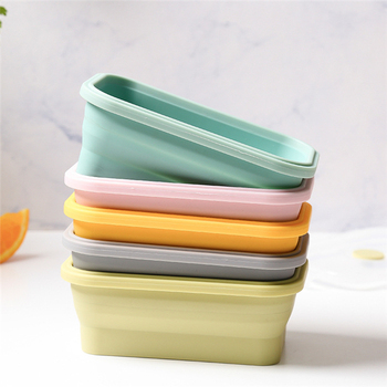 10pcs High-grade Soft Foldable Healthy Material Lunch Box Microwave Dinnerware Food Storage Folding Container Foodbox