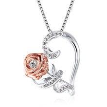 Rosa amor coração pingente de cristal strass colar cor de prata ouro romântico presente dos namorados para as mulheres colar de jóias de casamento