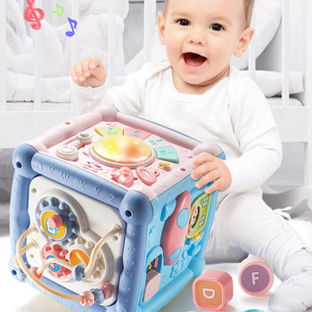 Multifunctional Musical Toys Game Box Telephone Drum Music Light For Kids Toddler Xylophone Gear Clock Cube Toy Newborn Gifts